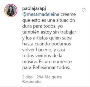 Paola Jara empieza a sentir la presión económica por la cuarentena