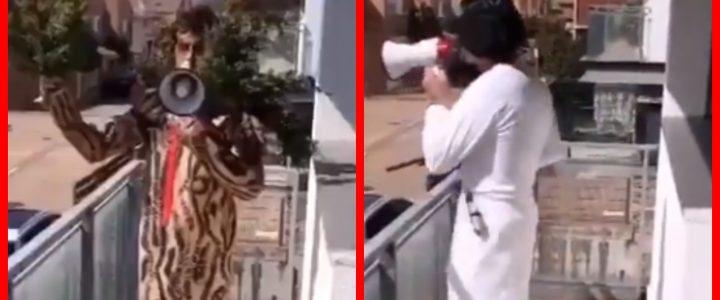 Cuarentena nivel: desesperado, hombre sale a gritar con distintos disfraces en su balcón