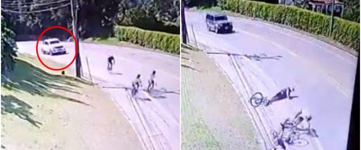 Video: Conductor de camioneta atropelló a tres ciclistas en La Ceja, Antioquia