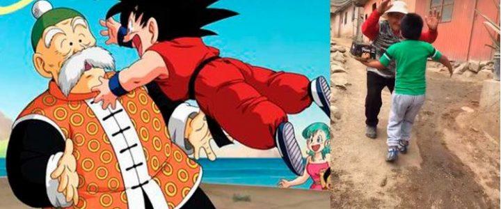 ¡Muy tierno! Niño recrea emotiva escena de Dragon Ball Z con su abuelito
