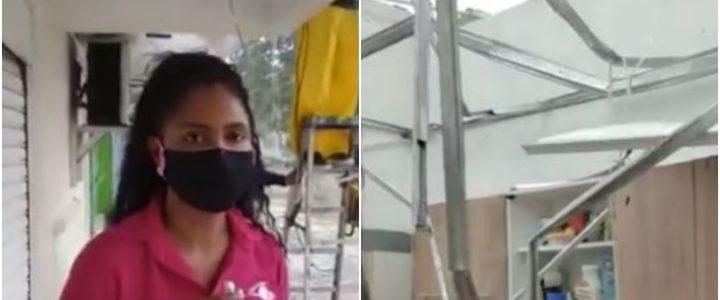 Periodista mostró su casa destruida en San Andrés y, entre lágrimas, siguió dando el reporte