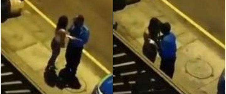 Video: Mujer besó a un policía para que no la multara por violar el toque de queda