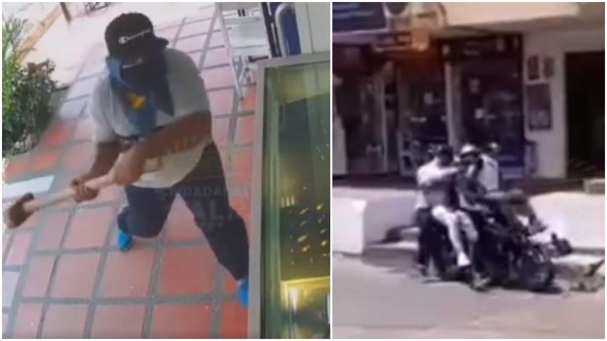 Ladrones intentan robar compraventa y huyen en moto _ Foto_ captura video
