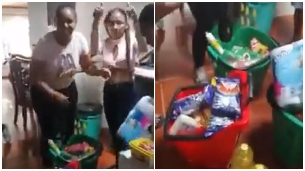 Mujeres se reparten lo que robaron de un supermercado _ Foto_ captura video