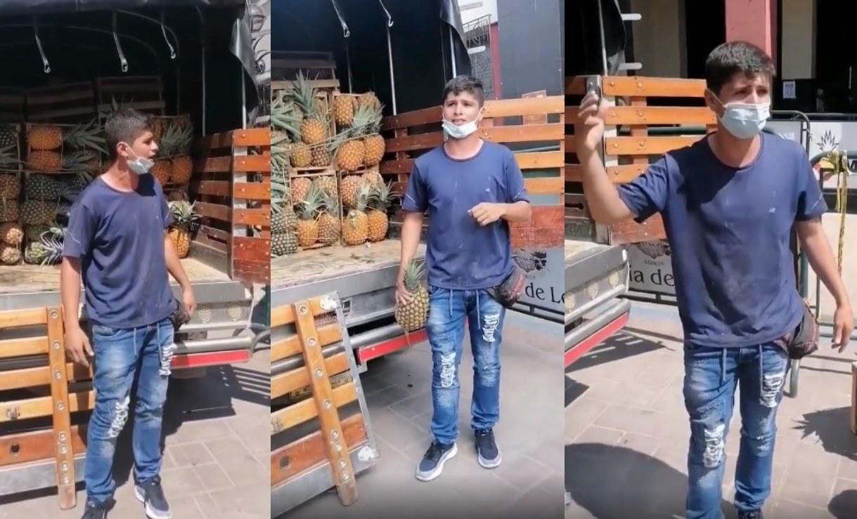Campesino rompe en llanto al regalar su cultivo de piña porque no le pagan lo justo