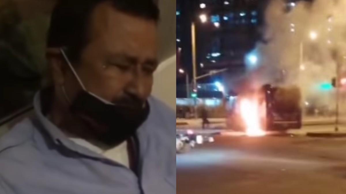 Conductor llora por ver su bus incinerado