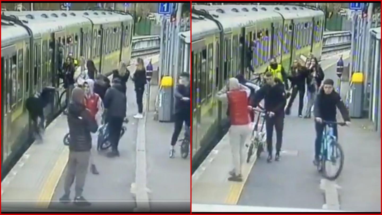 Jóvenes hacen caer a mujer a las vías del tren