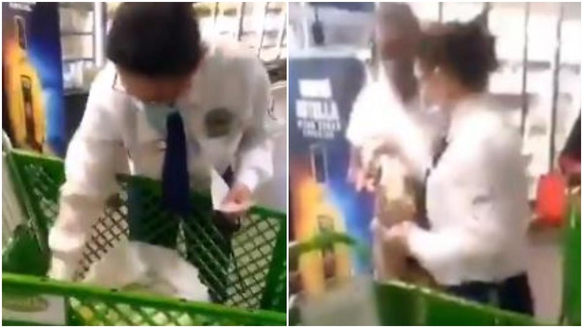 Vigilante de supermercado revisa los productos a venezolanos _ Foto_ captura video