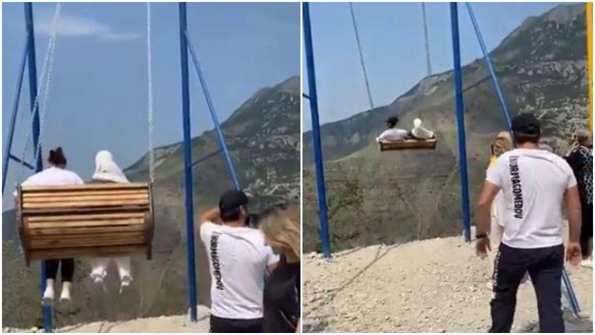 Turistas cayeron al vacío tras romperse un columpio / Foto: captura video